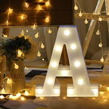 erthome <b>26 English Alphabet</b> Lights LED Light Up White Plastic ...