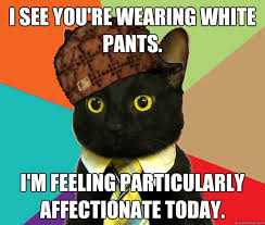 I see you're wearing white pants. I'm feeling particularly ... via Relatably.com
