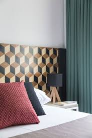 zones bedroom wallpaper: view in gallery small bedroom design with geometric wallpaper for the headboard wall