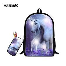 ZRENTAO 3D Unicorn Printed Mochilas Girls School <b>Bags</b> With ...