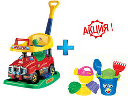 Каталка и <b>песочный</b> набор в ПОДАРОК - <b>Полесье игрушки</b>