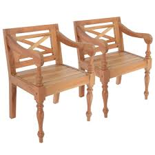 D-Shop <b>Batavia Chairs 2 pcs</b> Light Brown Solid Mahogany Wood ...