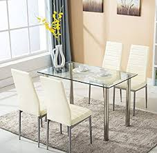 4 chair kitchen table: pc glass dining table with  chairs set glass metal kitchen furniture