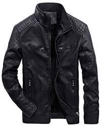 PAUL JONES <b>Men's Vintage</b> Zip Up Fleeced Stand Collar <b>PU</b> ...