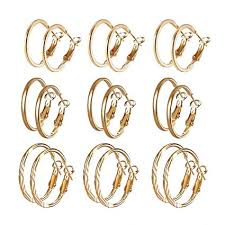 Idiytip 9 Pairs Gold Plated Sterling Silver <b>Fine Circle</b> Hoops ...