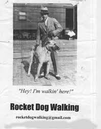 the hollywood walker dogwalkers but my favorite flyer one that turns up stuck to lamps posts and telegraph poles around the neighborhood is this one from rocket dog walking