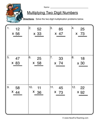 Multi Digit Multiplication Worksheets Fun - WorksheetsTwo Digit Multiplication Worksheet 1