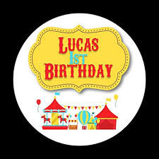 PERSONALIZED -<b>Circus Birthday Party</b> Stickers, Thank You ...