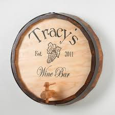 wood sign glass decor wooden kitchen wall: personalized oak wine barrel top sign