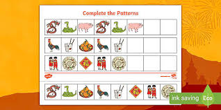 Chinese <b>New Year</b> Complete The <b>Pattern</b> Worksheets Differentiated