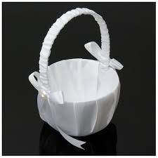 <b>Hot Sale</b> Romantic White Satin Bowknot <b>PEARL Flower</b> Girl Basket ...