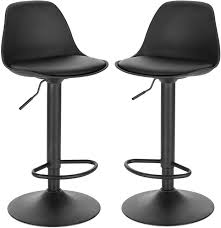 Set of <b>2 bar stools</b> in imitation leather with backrest - model Elena ...