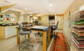 arts and crafts style lighting home office contemporary with polished concrete floor paper storage oversized workstation arts crafts home office