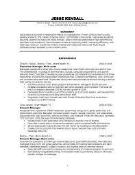 Example Resume  General Manager For Resume Sample For Restaurant Manager With Experience And Summary      Binuatan