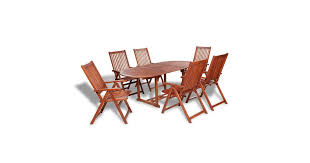<b>7 Piece</b> Outdoor Dining Set <b>Solid Acacia</b> Wood - Matt Blatt