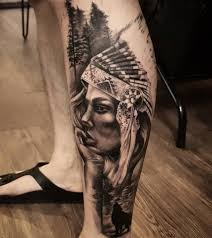 Red Indian <b>girl with wolf</b> tattoo in...