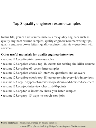top 8 quality engineer resume samples in this file you can ref resume materials for resume format for quality engineer