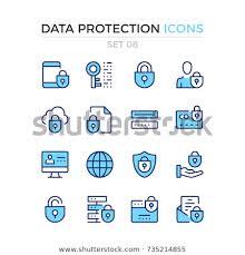 Стоковая векторная графика «Data Protection Icons Vector <b>Line</b> ...