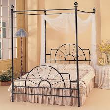 black wrought iron furniture peach bedroom interior with black iron canopy bed frame using white sheer black wrought iron table