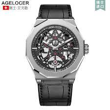 Swiss Mechanical <b>Skeleton</b> Man Watch <b>AGELOCER</b> Men Sport ...