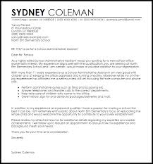school administrative assistant cover letter sample executive assistant cover letter