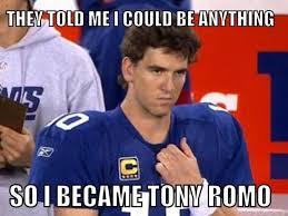 Meme: Eli Manning pulls a Romo against Tony Romo-led Cowboys ... via Relatably.com