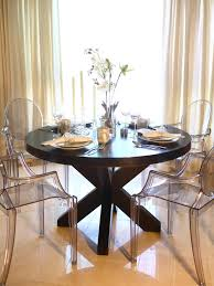 ghost chairs dining table wooden rectangular
