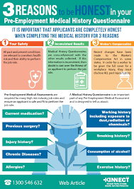 3 reasons to be honest in your pre employment medical history 3 important reasons to be honest in your pre employment medical questionnaire infographic