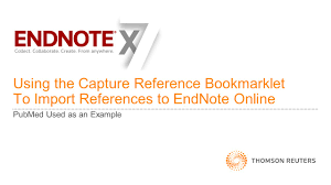 using the capture reference bookmarklet to import references to using the capture reference bookmarklet to import references to endnote online