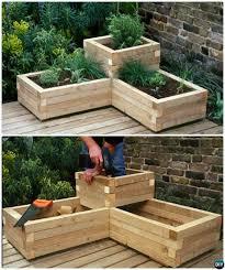 diy corner wood planter raised garden bed 20 diy raised garden bed ideas instructions bedroommagnificent lush landscaping ideas