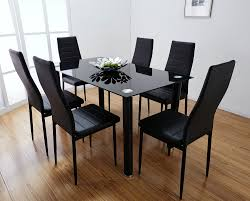 Dining Room Sets 6 Chairs Lunar Rectangle Glass Dining Table Amp 6 Chairs Set Furniturebox