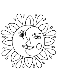 Small Picture Trippy Sun and Moon coloring page Free Printable Coloring Pages