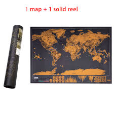 Mini <b>Black</b> Deluxe Travel Scrape <b>World Map Poster</b> Traveler ...