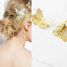 <b>M MISM 1</b> Pair Women Golden Animal Hair Clips Hollow Out Wing ...