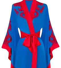 <b>Agent Provocateur Blue</b> and Red Kimono Soirée Lottus - Tradesy