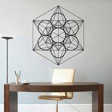 Geometric Pattern Wall Sticker Megatrons Cube <b>Vinyl Wall Murals</b> ...