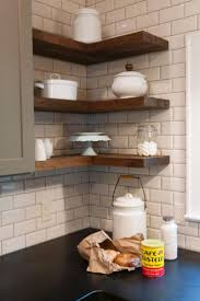 country themed reclaimed wood bathroom storage: furniture walnut reclaimed pine wood floating kitchen shelves above black countertop on white corner brick