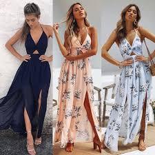 <b>Womens Summer</b> Boho Maxi <b>Long Dress</b> Evening Party Beach ...