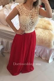 <b>Gorgeous</b> Red Pearls Lace <b>Prom</b> Dresses <b>2018</b> Long <b>Chiffon</b> ...