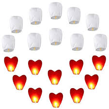 20pcs Chinese Sky Lanterns Set (<b>10pcs</b> White + <b>10pcs Red</b> Heart ...