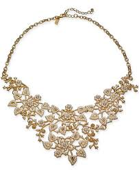 INC Gold-Tone Crystal & Imitation Pearl Vine Statement Necklace ...