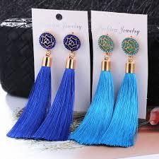 <b>HOCOLE</b> Bohemian Crystal Tassel Earrings Black White Blue Red ...