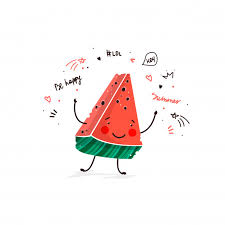 Watermelon fruit <b>cute cartoon</b> doodle sketch illustration Vector | Free ...
