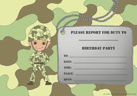 14 printable birthday invitations many fun themes 1st birthday cute little army ier birthday invitation camouflage theme and army tag