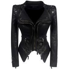 Punk Rivet <b>faux leather</b> PU Jacket <b>Women</b> fashion rose <b>Winter</b> ...