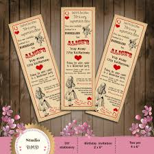 alice ticket alice in wonderland birthday party invitation vintage playing card ticket style mad hatter tea party printable diy