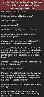 w refuses to pay her money because of her faith but is w refuses to pay her money because of her faith but is shocked when the manager said this