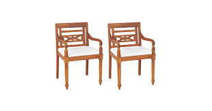 vidaXL <b>Batavia Chairs 2 pcs</b> with Cushions Solid Teak Wood ...