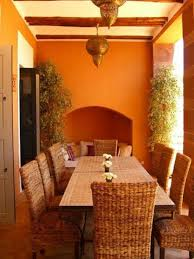 Orange Dining Room Chairs Classic Outdoor Moroccan Dining Room Design With Rattan Chairs