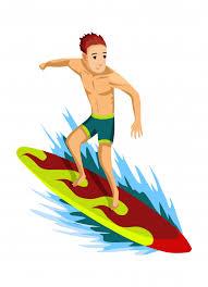 Summer beach activities. guy rides on a surfboard. <b>wave conqueror</b> ...